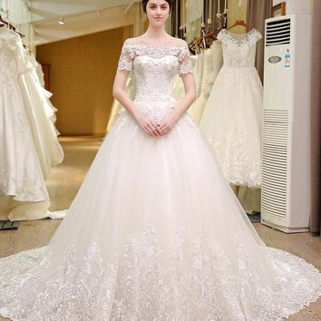 Short Sleeve Lace Boho Style Wedding Dress