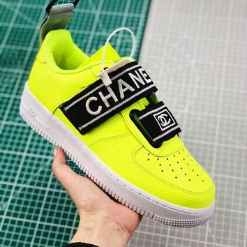 Nike Air Force 1 Utility Qs Green With Double C Logo Sneakers - Best Online Sale