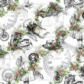 alice_in_wonderland_collage_black_on_vintage_holly_stripe fabric - 13moons_design - Spoonflower