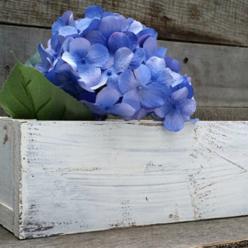 Shabby Chic Planter Box Centerpiece, Rustic Centerpiece, Rustic Wedding Decor, Distressed Wood