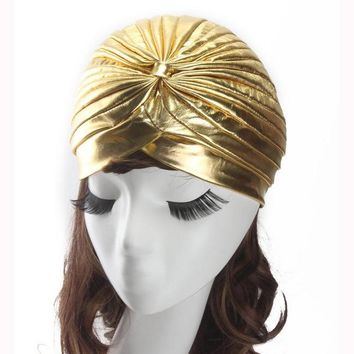 Women Ladies Indian Style Stretchy Solid Turban Hat
