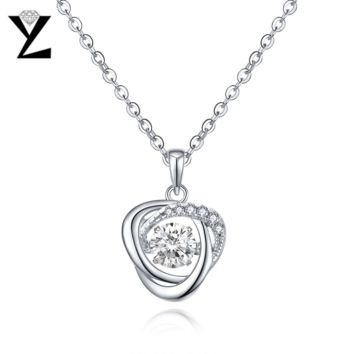 YL Dancing Topaz 925 Sterling Silver Pendant Necklaces for Women Wedding Jewelry Making Chokers Necklaces Best Friends Pendant