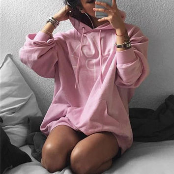 Women Stylish long-sleeved hooded sweater loose letters printed casual tops