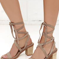 Chinese Laundry Calvary Dust Grey Suede Leather Lace-Up Sandals