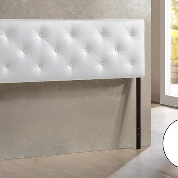 Baxton Studio Baltimore Modern and Contemporary Queen White Faux Leather Upholstered Headboard Set of 1