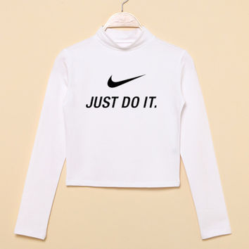 """""""Nike"""" Fashion Casual Classic  Letter Print Round Neck T-shirt Crop Top"""
