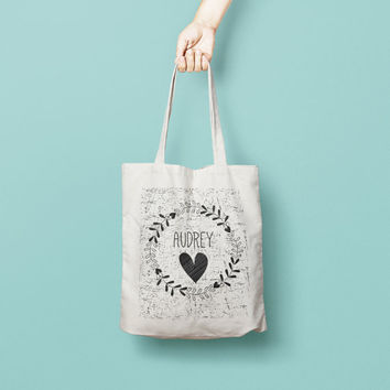 Personalised Name Bridesmaid Tote Bag, Wreath Tote Bag Bridesmaid - Bridesmaid Gift - Custom Canvas Tote Bag - Printed Tote Bag Cotton