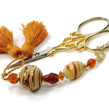 Scissor Fob, Butterscotch Swirl, Brown, Orange, Quilting, Sewing, Cross Stitch, Beaded, Gift for Crafter, DIY Crafts, TJBdesigns