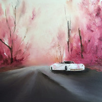 White Ferrari contemporary oil pallet knife painting originally painted stretched canvas landscape oil wedding birthday gift