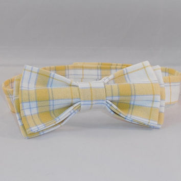 Yellow, Blue and White Plaid Men's Adjustable Bowtie