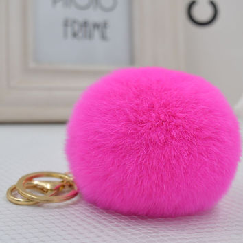 Genuine Rabbit Pom Pom Fur ball Keychain