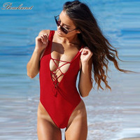 Charming Solid Color Drawstring Backless High Waist Swimwear Sexy One Pieces Swimsuit swimming suit for women