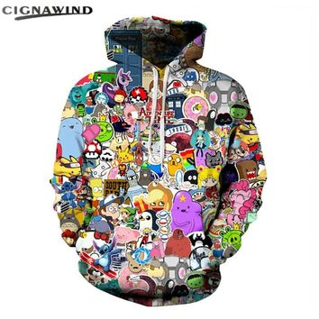 Burst models Anime Hoodies 3D /Adventure Time Digital printing Hoodie fashion casual Unisex sweatshirt men women topsKawaii Pokemon go  AT_89_9
