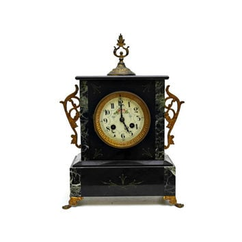 Antique French Clock. 19th Century French Ormolu Mantle Clock. Bronze and Marble Clock