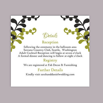 DIY Wedding Details Card Template Editable Text Word File Download Printable Details Card Black Details Card Olive Green Enclosure Cards
