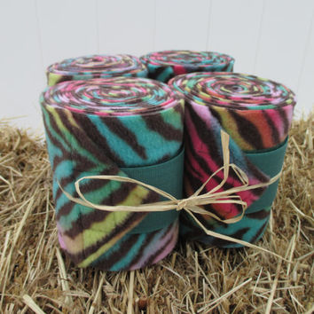 Set of 4 Polo Wraps for Horses- Rainbow Zebra Print Fleece