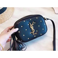 YSL fashion ladies casual shoulder bag selling embossed shopping small bag Black