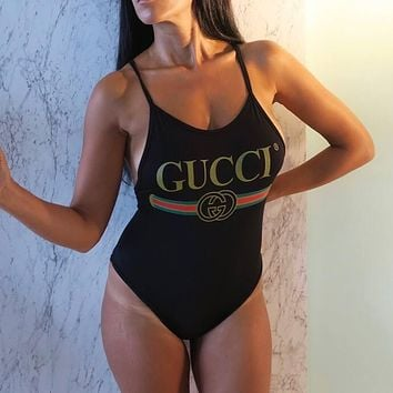 GUCCI Slim backless one-piece bathing suit Bikini