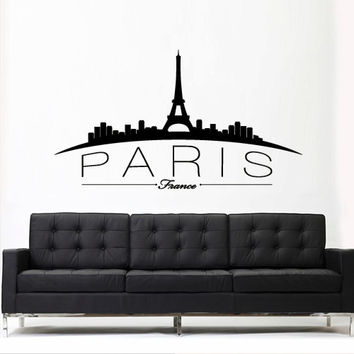 Wall Vinyl Sticker Decals Decor Art Bedroom Design Mural Paris France Skyline Sign QUote Lettering Word Town City (z3098)
