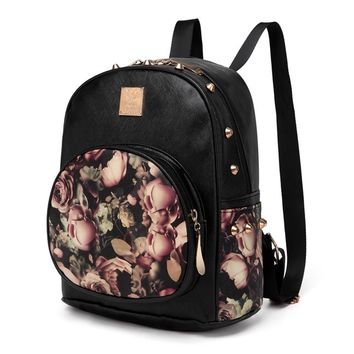 Vintage Floral Block Cute Backpack for Girls