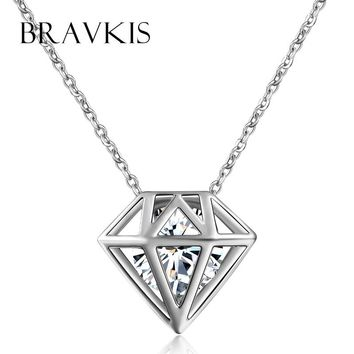 BRAVKIS one direction pendant cage necklace women cz stone floating charm choker chain pendentif collier colar jewel BUN0115B