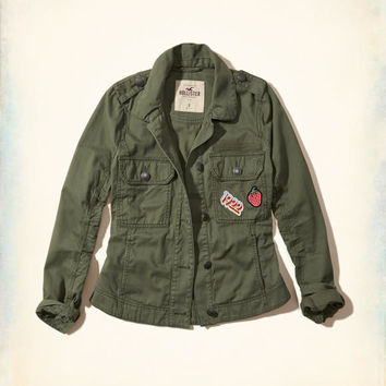 Girls Patch Military Shirt Jacket | Girls Jackets & Outerwear | HollisterCo.com