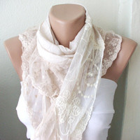 Beige  Scarf - Coton Scarf- Ruffle Scarf- Tulle- Scarf