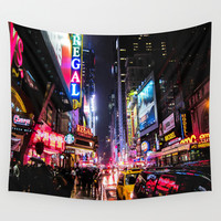 New York City Night Wall Tapestry by Nicklas Gustafsson