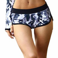 Summer Fitness Sport Shorts For Women Sexy Yoga Shorts Breathable Athletic Shorts Camouflage Print Running Gym Shorts #F30ST25
