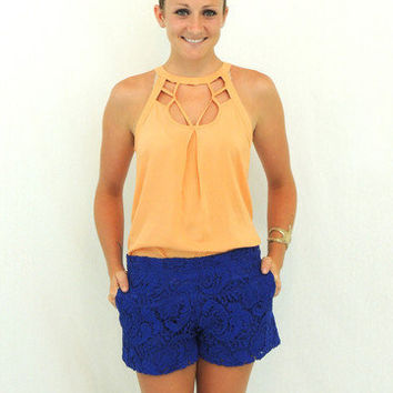 Lucky in Lace shorts in Navy -  $35.00 | Daily Chic Accessories | International Shipping