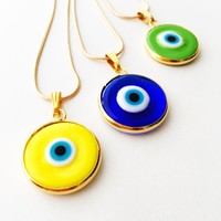 Evil eye necklace, gold chain evil eye necklace, elegant stylish necklace, evil eye pendants