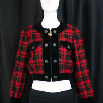 1990s Vintage Moschino Cheap And Chic Grunge Red Black Plaid Zipper Bomber Jacket 4 (Moschino Cheap & Chic)