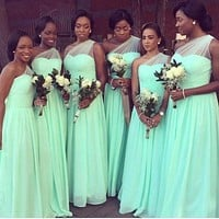 Mint Green Chiffon One Shoulder Long Bridesmaid Dresses 2017 A-line Cheap Wedding Party Dresses Formal Dresses