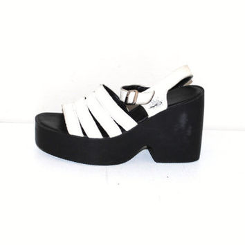 90s platform sandals 1990s vintage Aldo black + white strappy wedge platforms size 6.5
