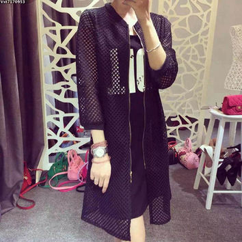 Black Mesh Long Jacket for Layering
