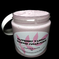 Raspberry Vanilla Whipped Sugar Scrub, Foaming Body Scrub, Gift under 10
