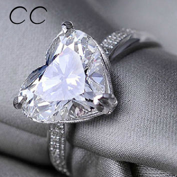 Fashion Jewelry Shaped Heart CZ Diamond Promise Ring Sapphire Engagement Rings for Women Bijoux Femme Wedding Love Gifts CC048
