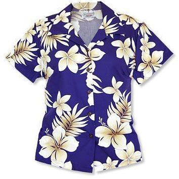 beachcomber purple hawaiian lady blouse