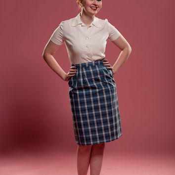 Vintage 1960s Plaid Pencil Skirt Blue Mad Men Pin Up Spring Fashions 1961