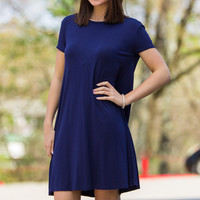 The Perfect Piko Short Sleeve Swing Dress-Navy – Simply Dixie Boutique