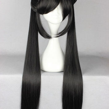 Classical Fashion Style Black Two Ponytails Japanese Anime Wig Cosplay Costume Wig,Colorful Candy Colored synthetic Hair Extension Hair piece 1pcs WIG-008D