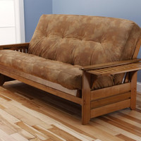 Phoenix Futon Frame in Honey Oak Wood with Innerspring Palomino Saddle Mattress