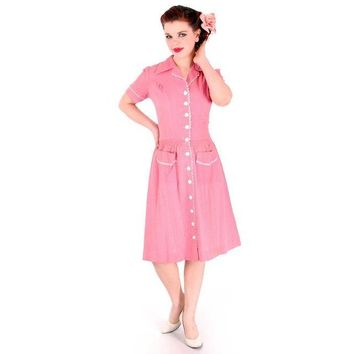 Vintage Seersucker Day Dress Pink WW2  Early 1940s Stylecraft Frocks 36-29-47
