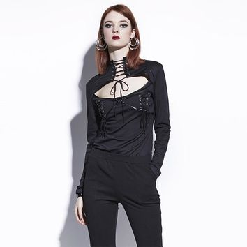Gothic Blouse Black Lace-Up Hollow Out Women Fall Slim Goth Shirts Fashion Young Punk Darkness Short Tops Gothics Blouse