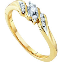 Diamond Ladies Promise Ring in 10k Gold 0.1 ctw