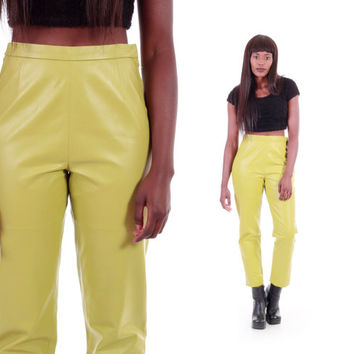 Chartreuse Leather High Waist Pants Yellow-Green Tapered Trousers 80s 90s Vintage Clothing Womens Size Small