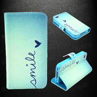 Smile Leather Phone Wallet Case