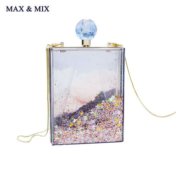 MAX&MIX Super Recommendation Women Transparent Clear Box Clutch Acrylic Evening Handbag Cross Body Transparent Perspex Purse Bag