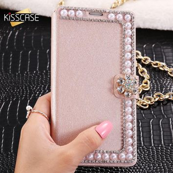 Bling Pearl Crystal Flip Stand Samsung Phone Case