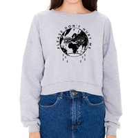 Please Don't Hurt Me Heather Grey Fleece Cropped Girl's Crewneck : SABR : MerchNOW - Your Favorite Band Merch, Music and More